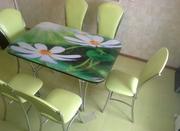 Стол с фото (ДСПЛ+закаленное стекло) кухонный любого размера